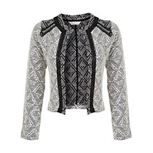 Buy Miss Selfridge Embellished Boucle Jacket, Cream / Black Online at johnlewis.com