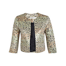 Buy Miss Selfridge Rainbow Jacquard Jacket, Gold Online at johnlewis.com