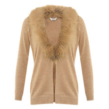 Buy Miss Selfridge Petite Faux Fur Cardigan, Light Brown Online at johnlewis.com