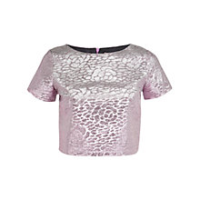 Buy Miss Selfridge Petite Metallic Boxy Top, Purple Online at johnlewis.com