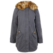Buy Miss Selfridge Lion Hood Faux Fur Parka Jacket, Grey Online at johnlewis.com