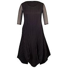 Buy Chesca Black Crush Pleat Crepe Drape Hem Dress, Black Online at johnlewis.com