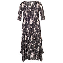 Buy Chesca Floral Print Crush Pleat Layered Dress, Black/Heather Online at johnlewis.com