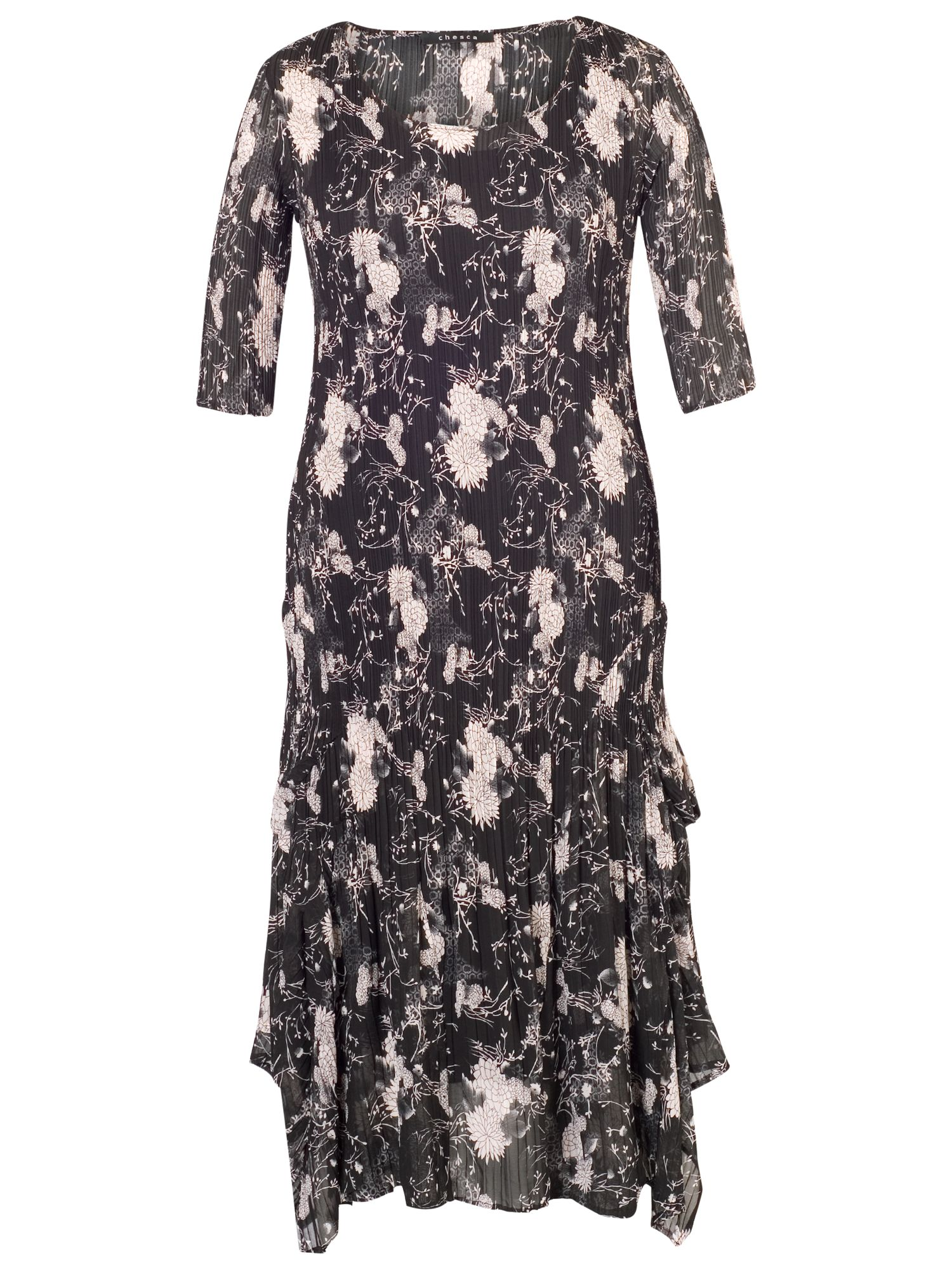 chesca floral print crush pleat layered dress black/heather, chesca, floral, print, crush, pleat, layered, dress, black/heather, 12-14|24-26|20-22|16-18, women, plus size, womens dresses, gifts, wedding, wedding clothing, mother of the bride, female guests, 1807923