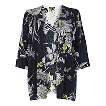 Buy Warehouse Stencil Floral Kimono, Navy Online at johnlewis.com