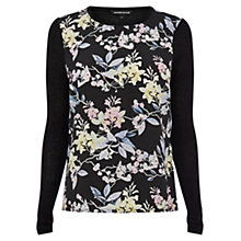 Buy Warehouse Wisteria Woven Front Jumper, Black Online at johnlewis.com