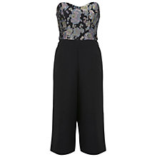 Buy Miss Selfridge Floral Culotte Jumpsuit, Black Online at johnlewis.com