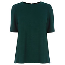 Buy Warehouse Textured Zip Back Top, Dark Green Online at johnlewis.com