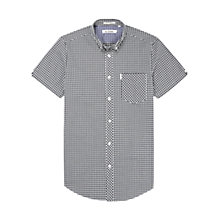 Buy Ben Sherman Gingham Short Sleeve Shirt, Jet Black Online at johnlewis.com