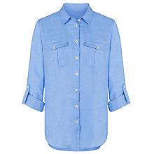 Buy John Lewis Linen Safari Shirt, Blue Online at johnlewis.com
