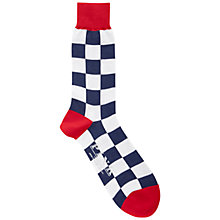 Buy Thomas Pink Gingham Check Socks, Navy/White Online at johnlewis.com