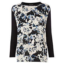 Buy Warehouse Feather Floral Knit Top, Black Online at johnlewis.com