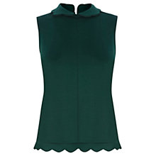 Buy Warehouse Scallop Collar Shell Top, Dark Green Online at johnlewis.com