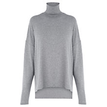 Buy Warehouse Split Side Polo Neck Top, Light Grey Online at johnlewis.com