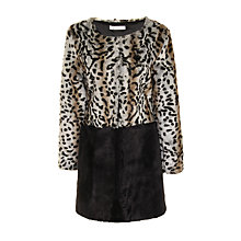 Buy True Decadence Contrast Collarless Faux Fur Coat, Animal Print Online at johnlewis.com
