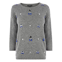 Buy Warehouse All Over Jewel Jumper, Dark Grey Online at johnlewis.com