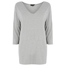Buy Warehouse V-Neck Drop Sleeve Top, Light Grey Online at johnlewis.com