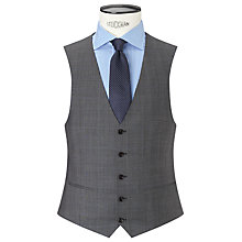 Buy John Lewis Super 100s Wool Prince of Wales Check Tailored Waistcoat, Grey Online at johnlewis.com