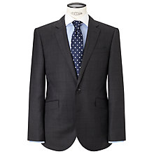 Buy John Lewis Super 100s Wool Windowpane Check Tailored Suit Jacket, Charcoal Online at johnlewis.com