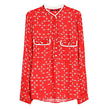 Buy Violeta by Mango Printed Chest Pocket Blouse, Bright Red Online at johnlewis.com