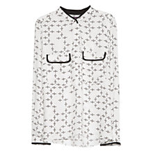 Buy Violeta by Mango Printed Chest Pocket Blouse, Natural White Online at johnlewis.com