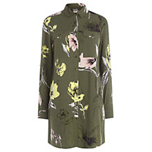 Buy Warehouse Oversize Floral Shirt Dress, Khaki Online at johnlewis.com