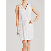 Buy John Lewis Toweling Sleeveless Hooded Dress, White Online at johnlewis.com