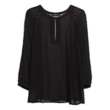 Buy Mango Plumeti Silk Blend Blouse, Black Online at johnlewis.com