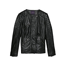 Buy Violeta by Mango Stitched Panel Leather Jacket, Black Online at johnlewis.com