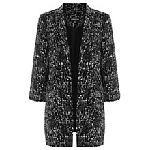 Buy Warehouse Texture Print Longline Blazer, Black Online at johnlewis.com