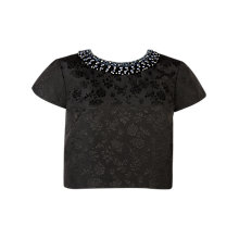 Buy Ted Baker Embellished Floral Jacquard Crop Top, Black Online at johnlewis.com