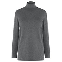 Buy Warehouse Clean Polo Neck Top, Grey Online at johnlewis.com