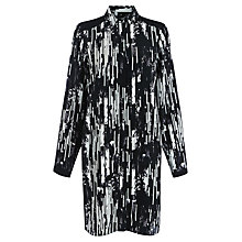Buy Warehouse Mono Shirt Dress, Black Pattern Online at johnlewis.com