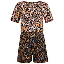 Buy Miss Selfridge Jacquard Printed Playsuit, Nude Online at johnlewis.com