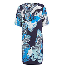 Buy Warehouse Placement Butterfly Dress, Navy Online at johnlewis.com