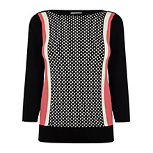 Buy Oasis Texture Colour Block Slash Neck Knit Top, Multi Online at johnlewis.com