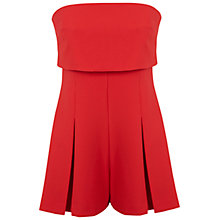 Buy Miss Selfridge Bandeau Layer Playsuit, Red Online at johnlewis.com