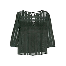 Buy Mango Crochet Applique Blouse, Black Online at johnlewis.com