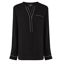 Buy Warehouse Piped Detail Blouse, Black Online at johnlewis.com