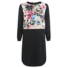 Buy Warehouse Knit Print Dress, Black/Cream Online at johnlewis.com