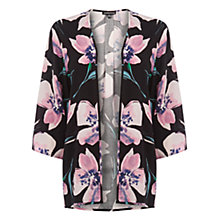 Buy Warehouse Spaced Floral Kimono Jacket, Black/Pink Online at johnlewis.com