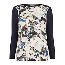 Buy Warehouse Autumn Leaves Woven Jumper, Navy Online at johnlewis.com
