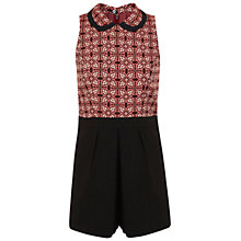 Buy Miss Selfridge Jacquard Collar Playsuit, Black Online at johnlewis.com