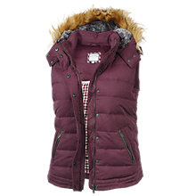 Buy Fat Face Amy Leather Trim Gilet, Purple Online at johnlewis.com