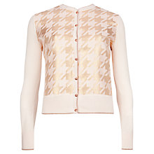 Buy Ted Baker Kadie Metallic Houndstooth Cardigan, Light Pink Online at johnlewis.com