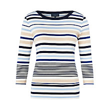 Buy Viyella Tipped Striped Jersey Top, Navy Online at johnlewis.com