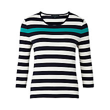 Buy Viyella Petite Striped Jersey Top, Navy Online at johnlewis.com
