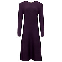 Buy Jaeger Wool Knit Flare Dress, Damson Online at johnlewis.com