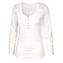 Buy Fat Face Lula Long Sleeved Henley Top, White Online at johnlewis.com