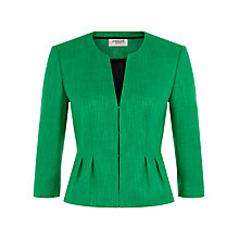 Buy Precis Petite Textured Collarless Jacket, Emerald Online at johnlewis.com